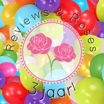 Reviews and Roses 3 jaar met ballonnen wit