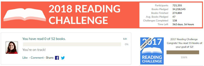 Goodreads Reading Challenge 2018